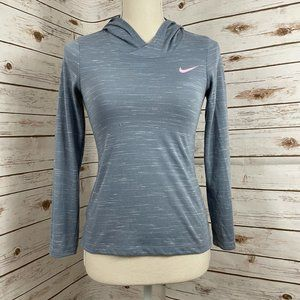 Nike Grey Blue Lightweight Hoodie with Pink Check